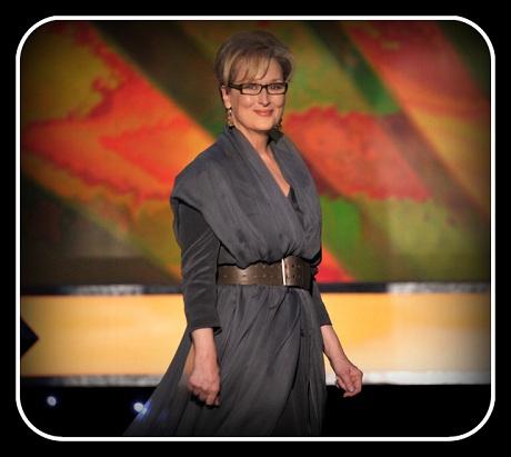 Meryl Streep in Vivienne Westwood presents at the 2012 SAG Awards on Exshoesme.com