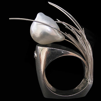 Michele Marzotto Silver and Pearl Ring on Exshoesme.com
