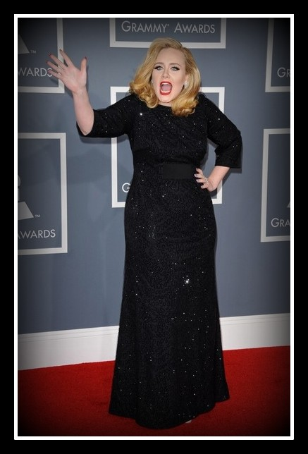 Adele- being Adele - wearing Giorgio Armani at the 2012 Grammy Awards on Exshoesme.com