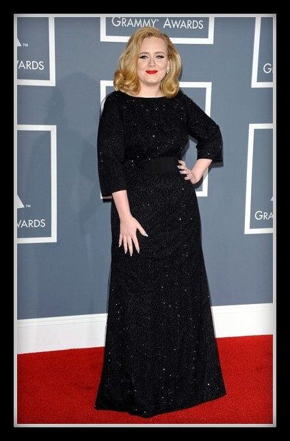 Adele wearing Giorgio Armani at the 2012 Grammy Awards on Exshoesme.com