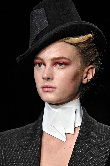 Donna Karan FW12 Black Hat with pin-stripe detail on Exshoesme.com