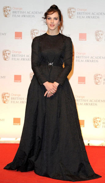Jessica Brown-Findlay at the 2012 BAFTAs on Exshoesme.com