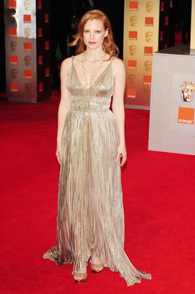 Jessica Chastain in Oscar de la Renta at the 2012 BAFTAs on Exshoesme.com