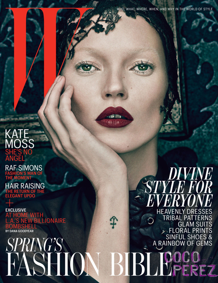 Kate Moss on the cover of W Magazine March 2012 - Black on Exshoesme.com