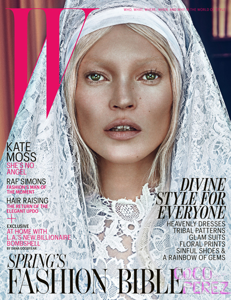 Kate Moss on the cover of W Magazine March 2012 - White on Exshoesme.com