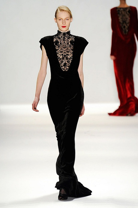 Tadashi Shoji FW12 Red Velvet Gown - Back and Black Velvet Gown with Jet Beading on Exshoesme.com