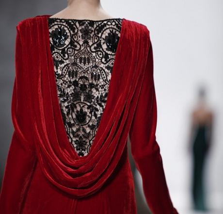 Tadashi Shoji FW12 Red Velvet Gown - Detail on Exshoesme.com