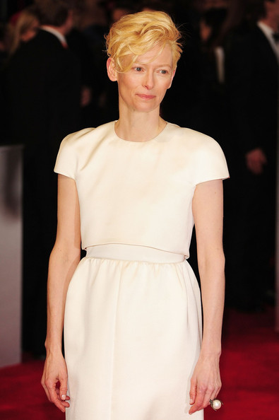 Tilda Swinton in Celine - detail at the 2012 BAFTAs on Exshoesme.com