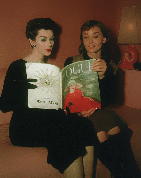 Dovima and Audrey Hepburn reading Vogue in Funny Face, 1957 on Exshoesme.com