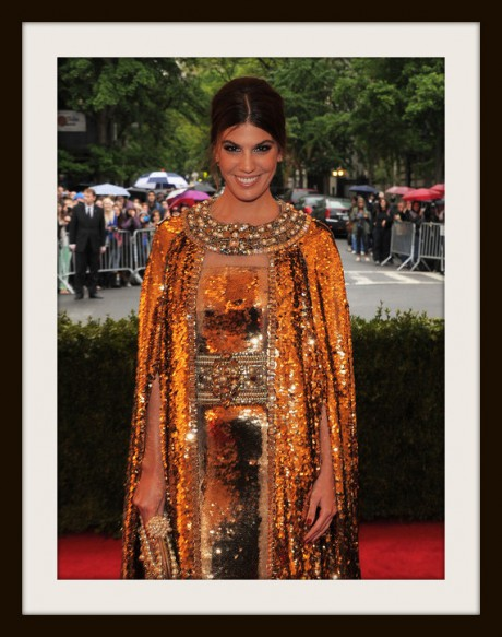 5. Bianca Brandolini D'Adda in Gold Dolce and Gabbana Cape at the Metropolitan Museum of Art Gala 2012 on Exshoesme.com