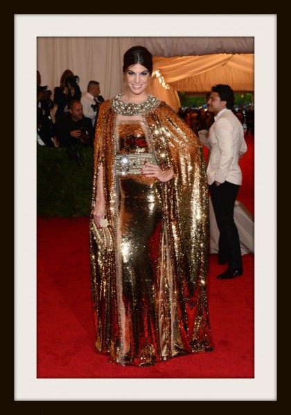 6. Bianca Brandolini D'Adda in Gold Dolce and Gabbana Cape at the Metropolitan Museum of Art Gala 2012 on Exshoesme.com