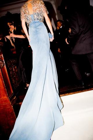 Caroline Trentini  in denim dress by Olivier Theyskens at the Metropolitan Museum of Art Gala 2012 on Exshoesme.com
