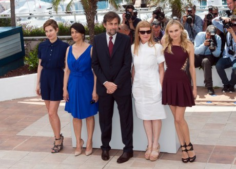 Jurors Emmanuelle Devos, Hiam Abbass, Jury President Nanni Moretti, Andrea Arnold and Diane Kruger at Cannes Film Festival May 16 2012 on Exshoesme.com.