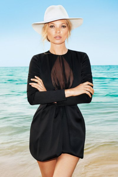 Kate Moss in Dior hat and dress photographed by Terry Richardson for Harper's Bazaar US June 2012 on Exshoesme.com