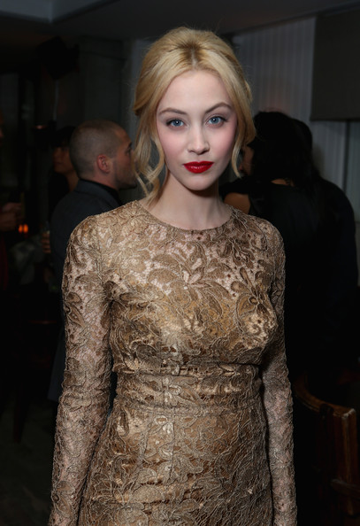 Sarah Gadon wearing Dolce and Gabbana at the Antiviral Premiere at the Toronto International Film Festival 2012 on Exshoesme.com (Alexandra Wyman)