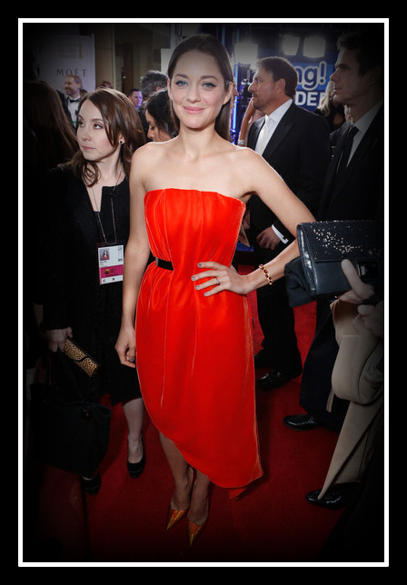 Marion Cotillard in Dior Couture at the 2013 Golden Globe Awards on Exshoesme.com. Photo Alexandra Wyman