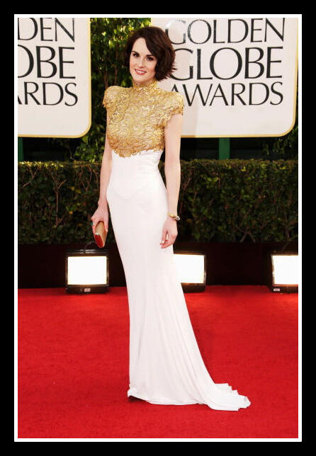 Michelle Dockery in Alexandre Vauthier Couture at the 2013 Golden Globe Awards on Exshoesme.com Photo Jason Merritt Getty NA