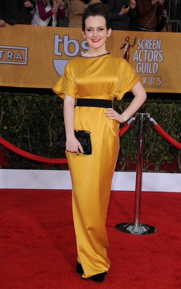 Sophie McShera in mustard yellow gown at the 2013 SAG Awards on Exshoesme.com