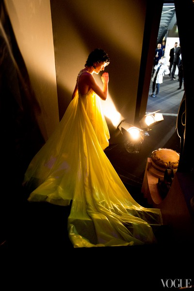 Versace SS13 Couture Yellow Gown on Exshoesme.com Photo by Kevin Tachman