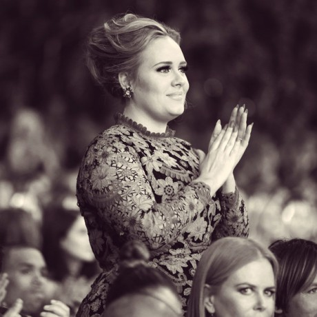 Adele, music fan, in Valentino Couture at the 2013 Grammy Awards on Exshoesme.com. Photo by Christopher Polk Getty Images North America