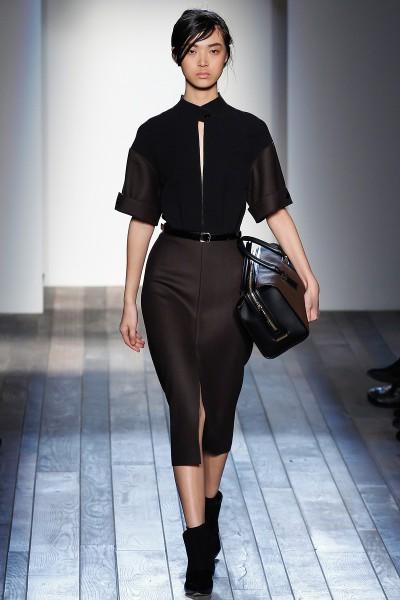 Victoria Beckham FW13 brown and black day dress on Exshoesme.com