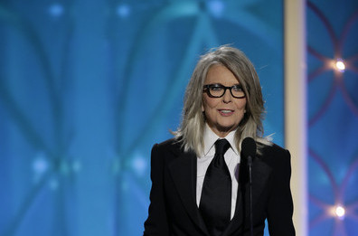 Diane Keaton at the 2014 Golden Globe Awards on Exshoesme.com.  Getty photo.