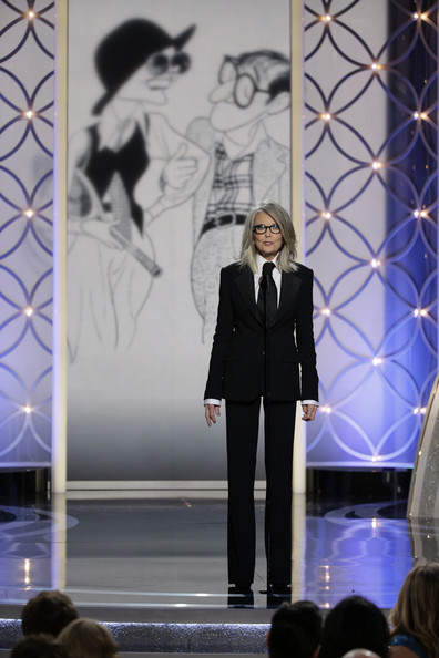 Diane Keaton in Ralph Lauren suit presenting at the 2014 Golden Globe Awards on Exshoesme.com.