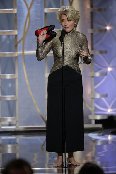 Emma Thompson at the 2014 Golden Globe Awards on Exshoesme.com. Jason Merritt photo.
