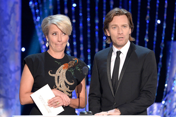 Emma Thompson with Ewan McGregor at the 2014 SAG Awards on Exshoesme.com. Kevork Djansezian Getty photo