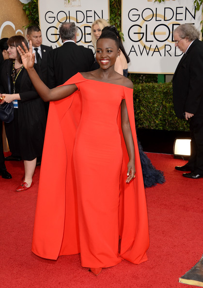 Lupita Nyong'o in Ralph Lauren at the 2014 Golden Globe Awards on Exshoesme.com. Jason Merritt photo
