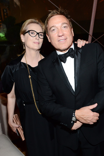 Meryl Streep and Kevin Huvane at the 2014 Golden Globe Awards on Exshoesme.com.  Araya Diaz photo.