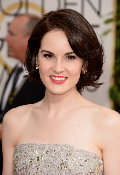 Michelle Dockery at  at the 2014 Golden Globe Awards on Exshoesme.com. Jason Merritt photo.