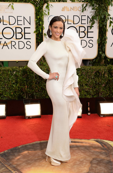Paula Patton in Stephane Rolland Couture at the 2014 Golden Globe Awards on Exshoesme.com. Jason Merritt photo.