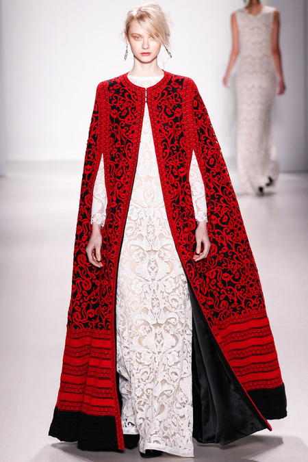 Tadashi Shoji FW14 black and red embroidered cape on Exshoesme.com