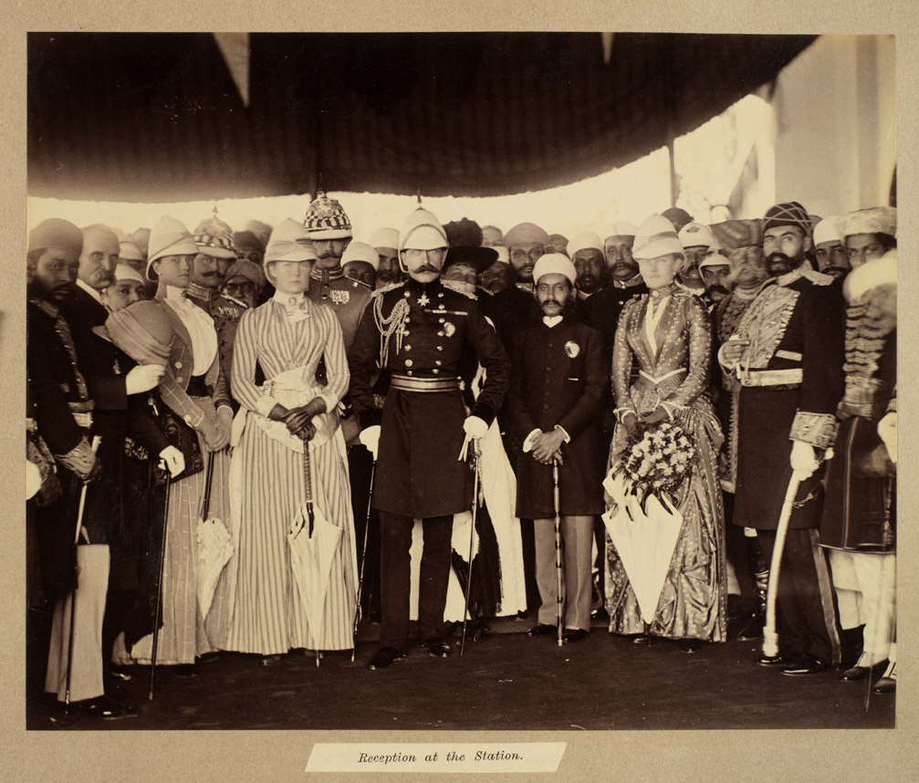 Nizam of Hyderabad receive the Duke and Duchess of Connaught at the 8. Railway Station; January 1889, Raja Deen Dayal