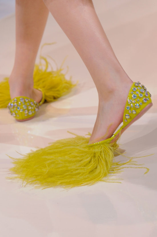 Rochas SS14 Feathered Flats on Exshoesme.com