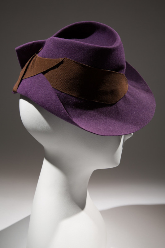 HatPurple felt, brown grosgrain ribbonCirca 1935, USAThe Museum at FIT, 81.30.27Gift of Mrs. Janet Chatfield-Taylor