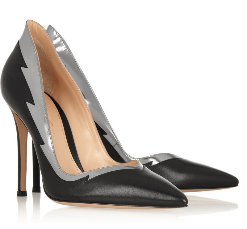 Gianvito Rossi Silver and Black Flash Pumps on Exshoesme