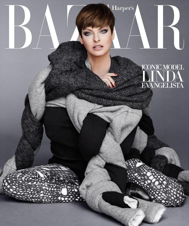 Linda Evangelista on the cover of Harper's Bazaar September 2014 Issue on Exshoesme.com