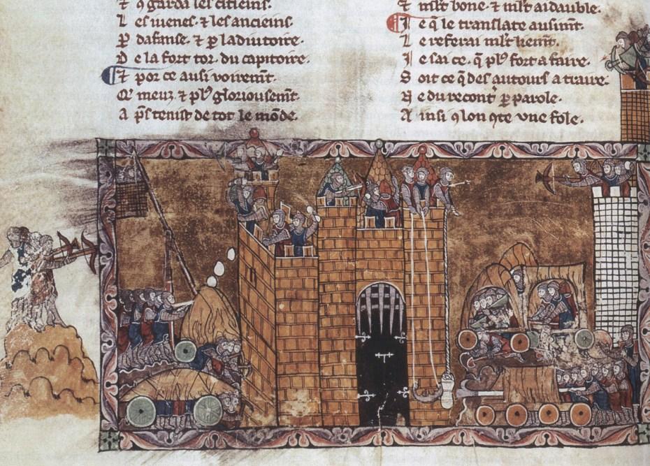 Dertiende-eeuwse afbeelding van een belegering, waarop allerlei belegeringstuigen afgebeeld staan. De kruisboog was een belangrijk verdedigingswapen, maar werd ook door de aanvallers gebruikt ©  Bibliothèque Nationale, Parijs