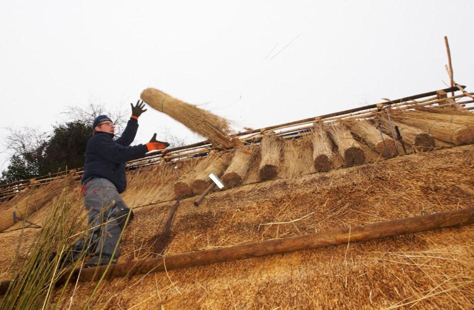 Het dak is opgebouwd uit verschillende lagen riet © Kris Vandevorst, Onroerend Erfgoed