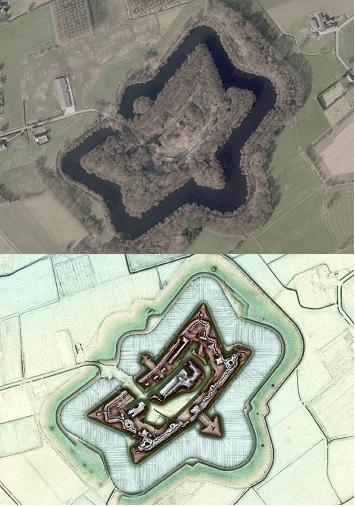 Het Fort van Lier maakte deel uit van de Vesting Antwerpen en werd in 1914 door de Duitsers met de Dikke Bertha en andere zware artillerie beschoten. Het is vandaag grotendeels overgroeid, maar de LiDAR beelden tonen sporen van inslagen (grijze vlekken) en loopgraven die op de omwalling zijn ingegraven © foto en DHM Informatie Vlaanderen, visualisaties DHM W.Gheyle, UGent