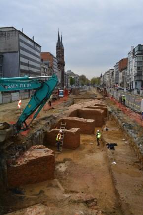 Het bastion was aan de binnenzijde verstevigd met steunberen © Stad Antwerpen, dienst archeologie