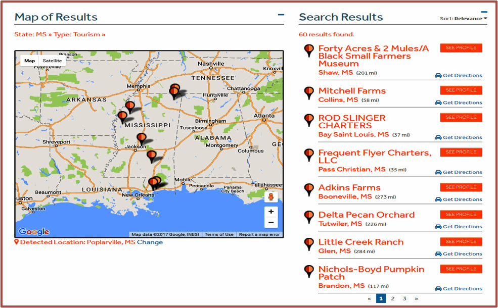 Figure 1. Online database and map of Mississippi tourism businesses generated by Search.
