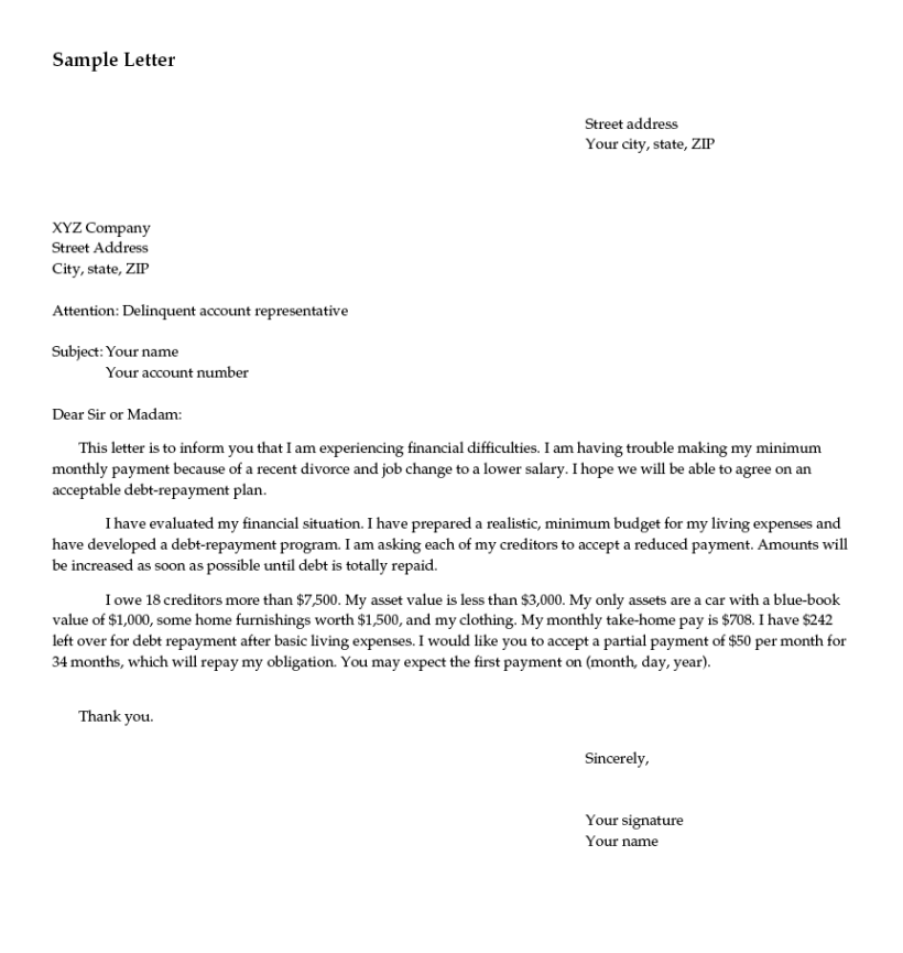 Sample Letter For Agreement To Extend Debt Payment