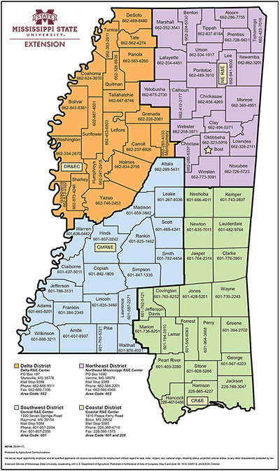 MSU Extension District Map  Mississippi State University