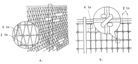 Figure 8. a) Detail of diamond-mesh fence; b)Stiff-stay