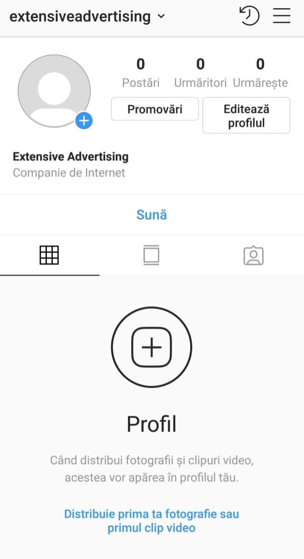 Pas 12 deschidere pagina Instagram pentru firma