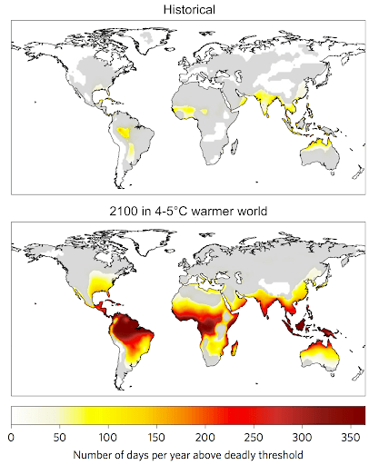 Number of days per year exceeding the threshold of temperature and humidity beyond which climatic conditions become deadly. Top: average between 1995-2005 (historical); bottom: average between 2090-2100 in a world 4-5°C hotter than in preindustrial times