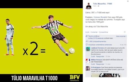 Túlio Maravilha provocou Cristiano Ronaldo após craque chegar a 501 gols na carreira